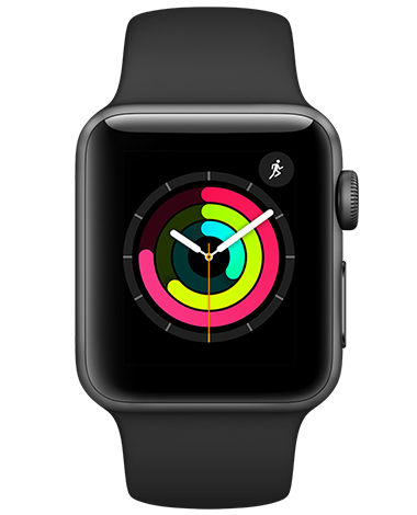 Apple Watch Serie 3, stellargrå/svart