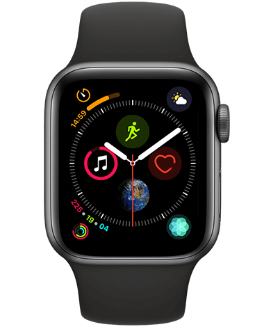 Apple Watch 4 GPS, 40 mm, grå/svart