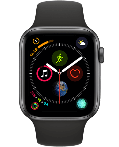 Apple Watch 4 GPS, 44 mm, grå/svart