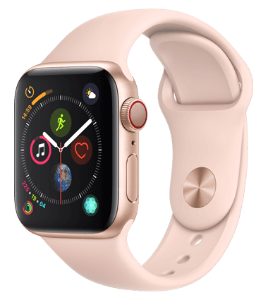 Apple Watch 4 med 4G, 40mm, gull alu, rosa Sport Band