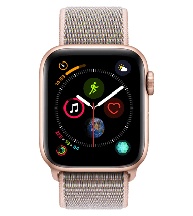 Apple Watch 4 med 4G, 40mm, gull alu, rosa Sport Loop