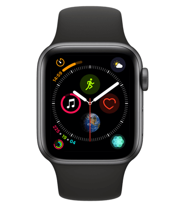 Apple Watch 4 med 4G, 40mm, grå alu, svart Sport Band