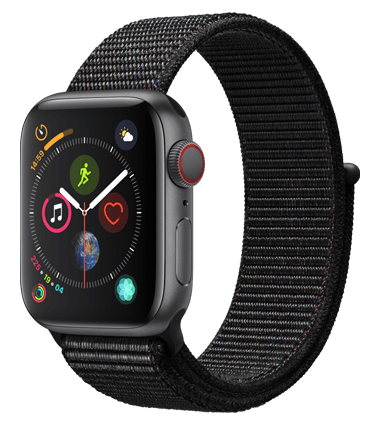 Apple Watch 4 med 4G, 40mm, grå alu, svart Sport Loop