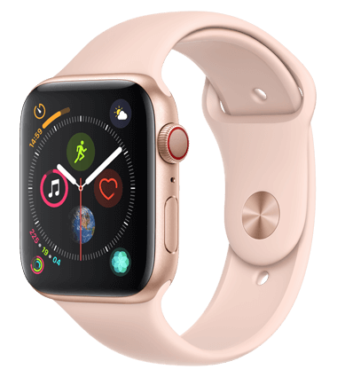 Apple Watch 4 med 4G, 44mm, gull alu, rosa Sport Band