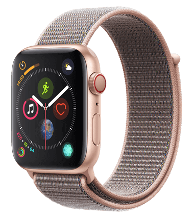 Apple Watch 4 med 4G, 44mm, gull alu, rosa Sport Loop