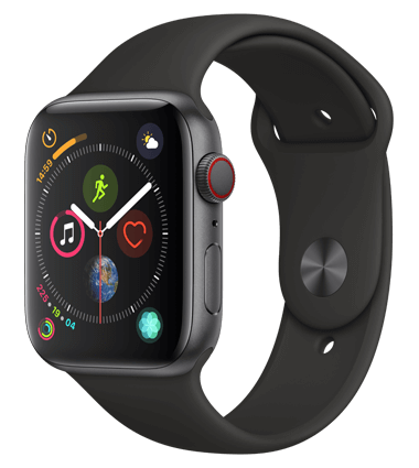 Apple Watch 4 med 4G, 44mm, grå alu, svart Sport Band