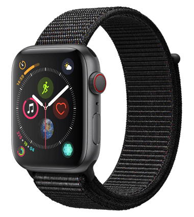 Apple Watch 4 med 4G, 44mm, grå alu, svart Sport Loop