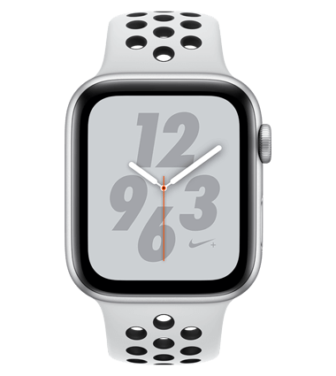 Apple Watch 4 med 4G, Nike+, 40mm, sølv alu, platinum/svart Nike Band